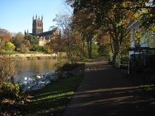 Worcester, Cathedral and the River Severn, Worcestershire © Philip Halling